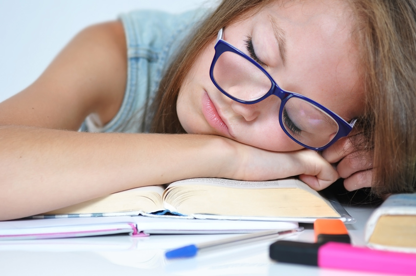 Girl fell asleep on her homework because she was bored
